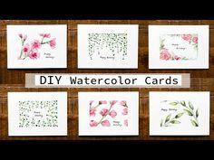 Watercolor Postcard, Watercolor Art Diy, Watercolor Bookmarks, Watercolour Tutorials, Watercolor Paintings, Card Making Tutorials, Holiday Greeting Cards, Art Lessons, Doodles