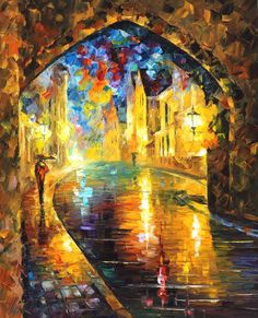 Cityscape painting - Sunny Walk — city oil painting by Leonid Afremov. City Canvas Art, Modern Canvas Art, City Painting, Oil Painting On Canvas, Oil Paintings, Popular Paintings, Oil Painting Reproductions, Beautiful Paintings, Oeuvre D'art