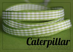 "3/8"" Gingham Ribbon - Caterpillar green & white check by LillyBellesPaperie on Etsy, $0.50"