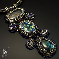 Beadwork,bead embroidery necklace from EXCLUSIVE collection with labradorites, sapphires, lapis lazuli, brass, hematite,Toho &Preciosa beads