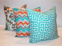 ACCENT PILLOW Set of 3 18x18 Inches Decorative by ThatsMyPillow, $50.85  Too turquoise, but cute