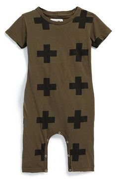 NUNUNU Graphic Print Romper (Baby Boys) available at #Nordstrom