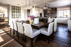 white + wood open kitchen-dining