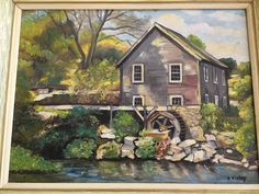 VINTAGE CHATHAM MASS. CAPE COD OLD GRIST MILL OIL PAINTING SIGNED CAPE ANNE…