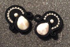 Soutache earrings, Swarovski and pearls elements