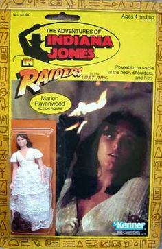 "Marion Ravenwood's action figure, still on the blister card, from the ""Raiders of the Lost Ark"" line of toys in 1982"