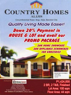 For Sale Country-Homes-Alijis Located at Brgy. Bacolod City, H & M Home, Lots For Sale, Country Homes, Make It Simple, Investing, Finance, Real Estate, Houses
