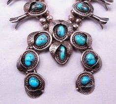 Vintage Native American Navajo Turquoise Silver Squash Blossom Necklace. SOLD