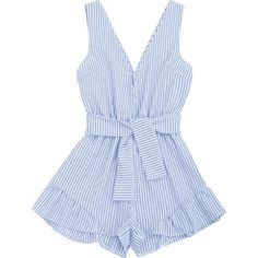 Plunging Neck Belted Striped Romper (47 BRL) ❤ liked on Polyvore featuring jumpsuits, rompers, dresses, striped rompers, stripe romper, plunge neck jumpsuit, playsuit romper and blue jumpsuit