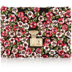 Dolce & Gabbana Linda embellished leather clutch (83.655 RUB) ❤ liked on Polyvore featuring bags, handbags, clutches, dolce & gabbana, purses, pink, pink handbags, pink purse, floral leather handbag e dolce gabbana handbag