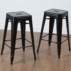 Noble House 2-Piece Zara Steel Counterstools In Black