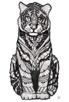 Tiger zentangle: