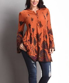 Orange Paisley Pleated Bell-Sleeve Tunic - Plus #zulily #zulilyfinds
