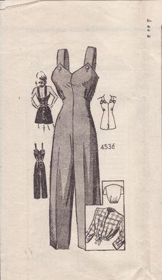 salopette années 40 - vintage 40's dungaree pattern