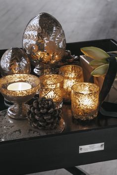 Christmas light and votives from DayHome. Candle Jars, Candle Holders, Candles, Christmas Lights, Day, Interior, Collection, Design, House