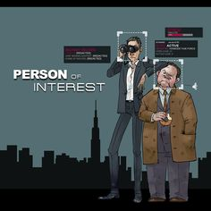 Reese and Fusco, Person of Interest. The black boxes are pieces of information about them stored by The Machine.  by monster3x.deviantart.com