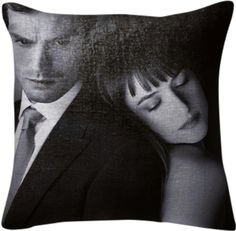 Fifty Shades of Grey Pillow from Print All Over Me - cuddly sofa cushion for your home with Christian Grey and Anastasia Steele in black and white. #FiftyShades #MrGrey #JamieDornan #homedecor