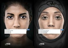 I really love these ads.  They are not promoting a product/brand, but calling you to action.  They are both visually and conceptually so powerful and memorable.  They are high contrast and very confrontational because the women are looking right at you.  It makes you feel like you should take a stand and do something which is exactly what it wants you to feel.