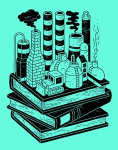 I drew these books and factories for the New York Times last week.