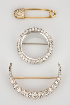 Diamond Safety Pin, Circle Brooch & Diamond Set Crescent Brooch | August 6, 2016 Auction at Rafael Osona Auctions Nantucket, MA