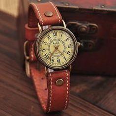 Retro Roman Scale Leather Watch - Light Brown