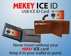 Never travel without your medical ICE ID card Medical Information, Card Sizes, Dog Tags, Presentation, Ice, Wallet, Purses, Cards, Travel