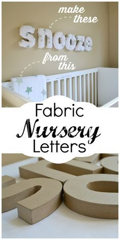 Doing this! How to make easy fabric covered letters for your baby nursery using swaddle blanket fabric. These fabric wall letters are super lightweight and match back to that pattern you fell in love with.
