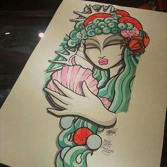 Art Deco mermaid; Venus Flytrap tattoo