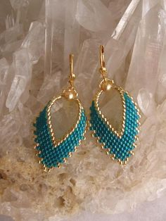 Beadwoven Russian Leaf Earrings - FREE SHIPPING - Teal. $16.00, via Etsy.