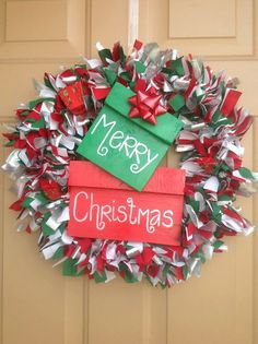 Merry Christmas Rag Wreath by MelsDoorDecor on Etsy, $30.00