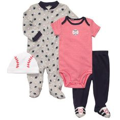 4-piece Outfit Set. Baseball and football clothes. The two sports daddy loves.
