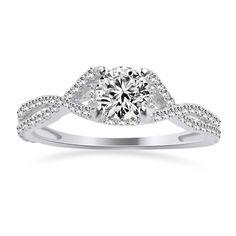 1.50ct Round Cut VVS1 Diamond Solid 10K White Gold  Infinity Engagement Ring #affinityengagementjewels #Infinity #(I-CSR11211-10KW-CZ)