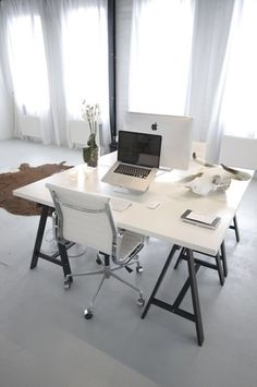 white with chrome and black accents for the home office – lovely trestle table – Office Design 2020 Home Office Space, Office Workspace, Home Office Design, Home Office Decor, Home Decor, Desk Space, House Design, Workspace Inspiration, Interior Inspiration