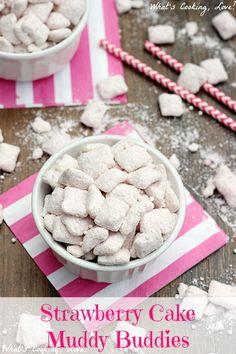 Strawberry Cake Muddy Buddies - Whats Cooking Love?