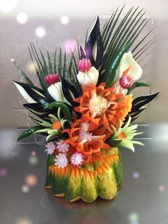 Fruits And Vegetables, Veggies, Watermelon Art, Hawaiian Birthday, Edible Creations, Food Carving, Fruit Art, Buffet, Food Art