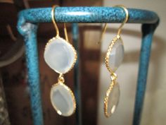 Vintage Victorian Gold/925 Sterling ~ 18.50ct Milky White Chalcedony  Dangle Earrings 9 Grams, 2 IN Long by TamisVintageShop on Etsy