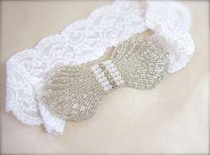 Vintage Bridal Garter Pearl Crystal Rhinestone on custom color stretch lace garter for vintage wedding garter deco wedding style by GracefullyGirly, $40.00