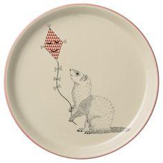 Bloomingville Mollie Tallerken Middag, Grævling m drage, Nude/Off. Wh./Rød Keramik Ø25 cm Et rigtig fint design er dette fra Bloomingville. Den fineste frok