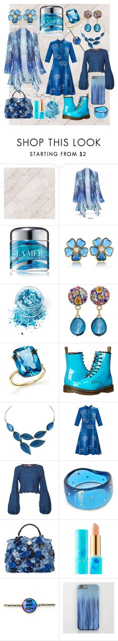 """denim blues. dress."" by caroline-buster-brown ❤ liked on Polyvore featuring La Mer, Van Cleef & Arpels, In Your Dreams, Margot McKinney, Bloomingdale's, Dr. Martens, Pepa Pombo, Fendi and tarte"