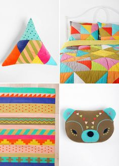 Clockwise from top left – Beci Orpin for Urban Outfitters Triangle Cushion, Patchwork Quilt, Stripe Tribal Rug and Bear Cushion.