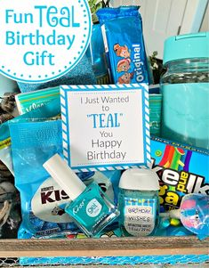 Teal Themed Fun Birthday Gift. This fun birthday gift is perfect for anyone who loves teal. Its super simple and such a fun birthday gift. #funbirthdaygift #birthdaygift #tealgift #fungifts