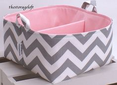 "LG 10""x10""x6"" Diaper Caddy - Storage Bin Basket Container Organizer - Gray White Chevron Zigzag Fabric with Pink Lining. $40.00, via Etsy."