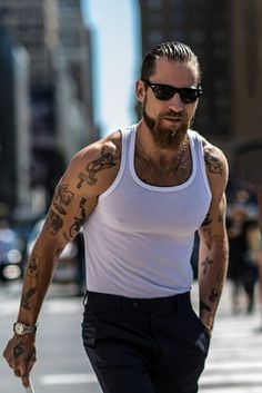 hair and beard styles nevrrmoore: green-meteors: Justin OShea by Michael Dumler during NYFW S/S Mmmph Summer goal: more tank tees and suit pant combos Tatto Boys, Justin O'shea, Beard Tattoo, Hair And Beard Styles, Stylish Men, Bearded Men, Bad Boys, Tattoos For Guys, Boy Outfits