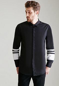 Black Contrast Trim Stripe Paneled Button-Down Mens Shirt   FOREVER21 - 2000117518 $20
