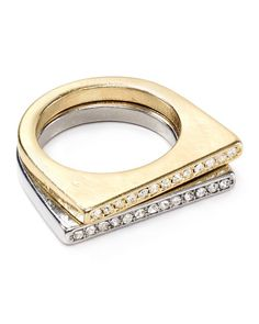 Aqua Sofie Pave Bar Rings, Set of 2