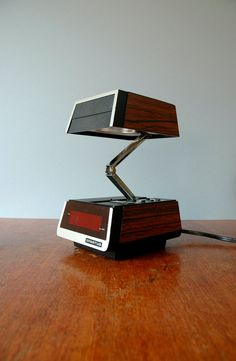 Retro Spartus Folding Lamp With Digital Clock