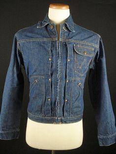 Vintage 50s Wranglar 11MJZ Blue Bell Indigo Blue Denim Jean Western Jacket 38