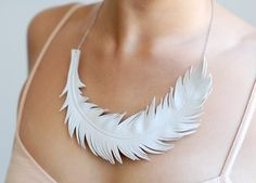 White Leather Swan Feather Necklace. Wedding Jewelry. $55.00