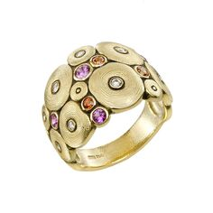 "Alex Sepkus ""Orchard"" Multicolored Sapphire & Diamond Ring"