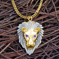Lion Face Pendant Necklace Set Amethyst Ruby Eyes 18K Gold Tone Lab Diamonds efe63ebca5